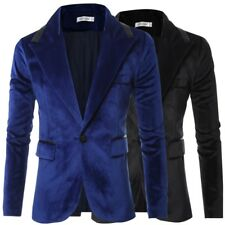 "Mens Velvet Blazer Suede Jacket Adults Smart Slim-Fit Coat 36""/38""/40""/42"""