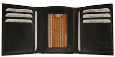 Mens Trifold Genuine Leather Wallet Credit Card ID License Window Black