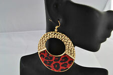 Animal Print Earrings Red Animal Print & Gold Tone Drop Earrings