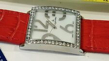#2 Square Louis Arden Quartz watch Red band white Dial Crystals Girls Woman