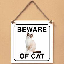 Snowshoe Beware of cat Targa gatto cartello ceramic tiles
