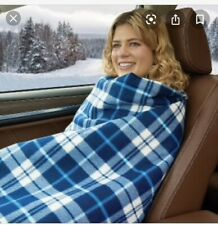Westerly Heated Polar Fleece Car Blanket Travel Throw 12V Blue Plaid 40 x 57 NEW