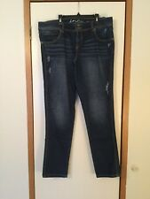 INC Denim Distressed Straight Leg Blue Jeans Regular Fit Size 16 NICE