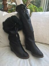 CHANEL FUR LINED LACE-FRONT WEDGE BOOTS. Size EU39.5.     UK 6.5