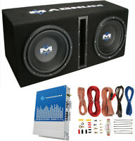 """MTX Magnum MB210SP 10"""" 400W RMS Dual Car Loaded Subwoofer Box with Wiring Kit"""