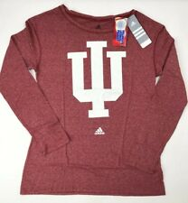 Adidas NCAA Indiana Hoosiers Womens L Large Logo L/S Crew Tee Victory Red $36