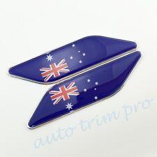2PCS Chrome Car Accessory 3D Decal Sticker AU Australian Flag Emblem Badge Trim