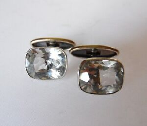 Cufflinks Antique RUSSIAN gold plated sterling SILVER 875 genuine rock crystal*