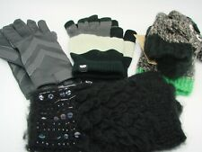 Assorted Winter Gloves Styles Classic Black  Gray Isotoners Open Finger One-Size