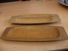 2 X OLD VINTAGE WOODEN AFRICAN ABORIGINE ? HAND CARVED TRIBAL ART DISH TRAY BOWL