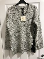QED LDN @ New Look Grey Marl Lace Up Asymmetric Jumper Size Small 8 10 BNWT