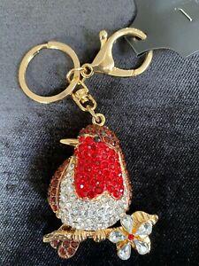 Gorgeous Robin Diamante keyring Rhinestone handbag Charm Bling NEW GOLD bird