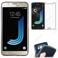 Housse Coque Silicone Gel + Verre Trempé Noir Samsung Galaxy J5 2016 SM-J510F