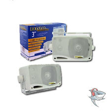 "New 3""3-WAY OUTDOOR MARINE BOX SPEAKERS WHITE CAR VAN CARAVAN BOAT 4WD"