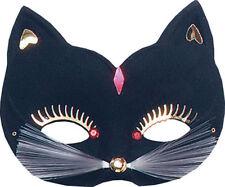 Ladies Masquerade Cat Eye Mask Large Black Halloween Cat Costume Accessory