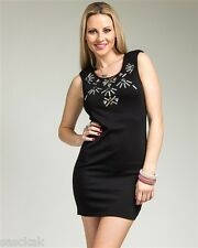 Black Cocktail Elegant Gemstone Rays Dress Size Scale: S-M-L
