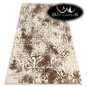 Modern Designer cheap Rug 'MEFE' ornament, structural, BEIGE / GOLD best carpet