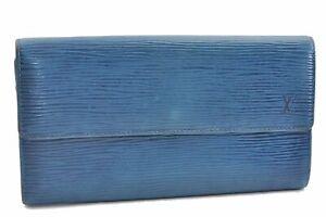 Authentic Louis Vuitton Epi Porte Monnaie Credit Wallet Blue M63572 LV 0116A