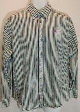 Coogi Australia Men's Large Striped Dress Shirt White Tourqouise Purple