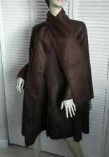 New Womens SZ M Brown Alpaca Wool Cloak Cape Ethnic Poncho Scarf PERU No Hat