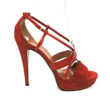 GUCCI RED SUEDE, LEATHER & PATENT LEATHER STRAPPY PLATFORM SANDALS SZ.38