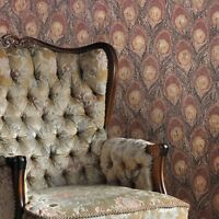 Wallpaper Peacock textured faux animal wall coverings brown yellow Gold Metallic