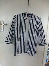 vintage jacket coat sz 8 navy white striped chinese collar Adrian lined
