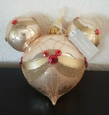 DISNEY Parks MICKEY MOUSE Icon Gold Champagne Glass Christmas Ornament Jeweled