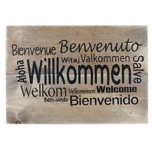 Wandschild Massiv Holz Willkommen Welcome Bauholz Schild Dekoschild Hängeschild