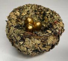 Handcraft Vine Leaves Artificial Fake Bird Nest with 3 Gold Eggs Indoor Decor