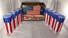 Vintage Bartlett Collins Old Glory Flag Hi Ball Glasses Set of 8 In Orig Box USA