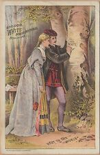 Victorian Trade Card-White Sewing Machine-Cleveland, OH-Couple Carving in Tree