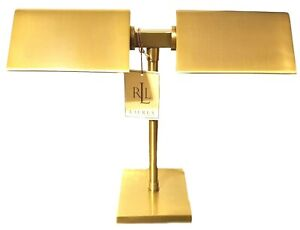 RALPH LAUREN AGATHA O' BANKERS DUAL Double Gold Banker's DESK LAMP MU79 RARE