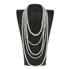 Women Long Multi Layer String Faux Pearls Beads Strand Necklace White Beaded