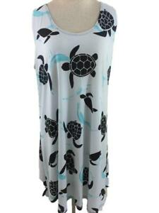Pretty Woman dress size XL sleeveless stretch sea turtle beach cover up USA made