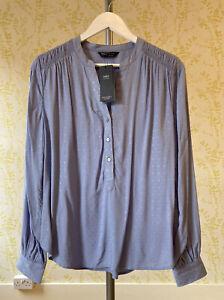 *BNWT* M&S mid blue collarless long sleeve blouse UK 10 textured finish