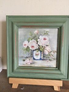 """Fab Vintage/Shabby Chic Style Floral Picture In Distressed Green Frame 9"""" Sq"""