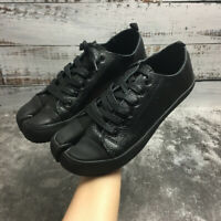 Womens Split Toe Real Leather Lace Up Sneakers Pumps Flats Shoes Pumps Spring