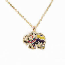 Gold Plated tiny colourful cute Iris Elephant Necklace, fashion bohemian gift