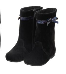 Gymboree NWT Holiday Dressed Up Boots Black Velour Shoes Girls Bow Size 8