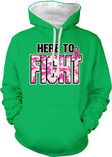Here To Fight Breast Cancer Cure Pink Ribbon Raise Am Two Tone Hoodie Sweatshirt