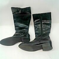 "Jessica Simpson Womens Black 16"" Boots Full Zip & Large Silver Buckle Size 11"