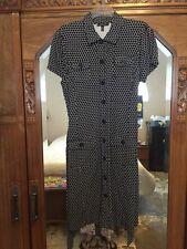 AK ANNE KLEIN SHIRT Rayon Stretch DRESS S/S W/TIE Buttons black SZ L NWT $129