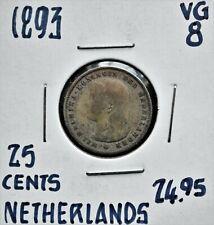1893 Netherlands 25 cents