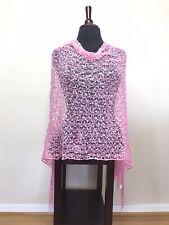 Womens Poncho Wrap Shawl Italian Knit Lace Pink One Size NEW