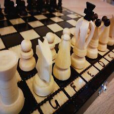 Neu Schachspiel aus Holz mit Figuren, Schachbrett edel handgefertigtes 31x31cm