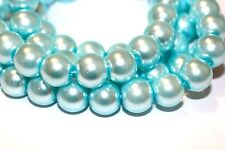 75pc 10mm Cyan Loose Beads- Glass Beads 1-3 day Shipping