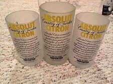 Absolut Vodka Glass Tumbler Set Of 3 Citron