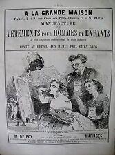 PUBLICITE DE PRESSE A LA GRANDE MAISON MANUFACTURE DE VETEMENTS PARIS AD 1866