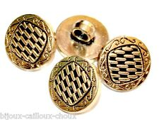 Lot de 4 BOUTONS vintages chics galvanoplatie dorée 15mm button
